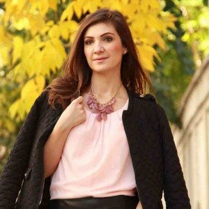 Autumn outfit Wearing a pink blouse from Sense Romania andhellip