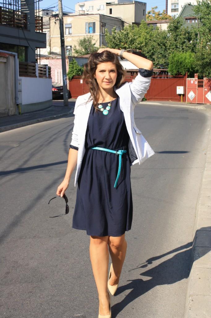 tinute office - rochie bleumarin 2