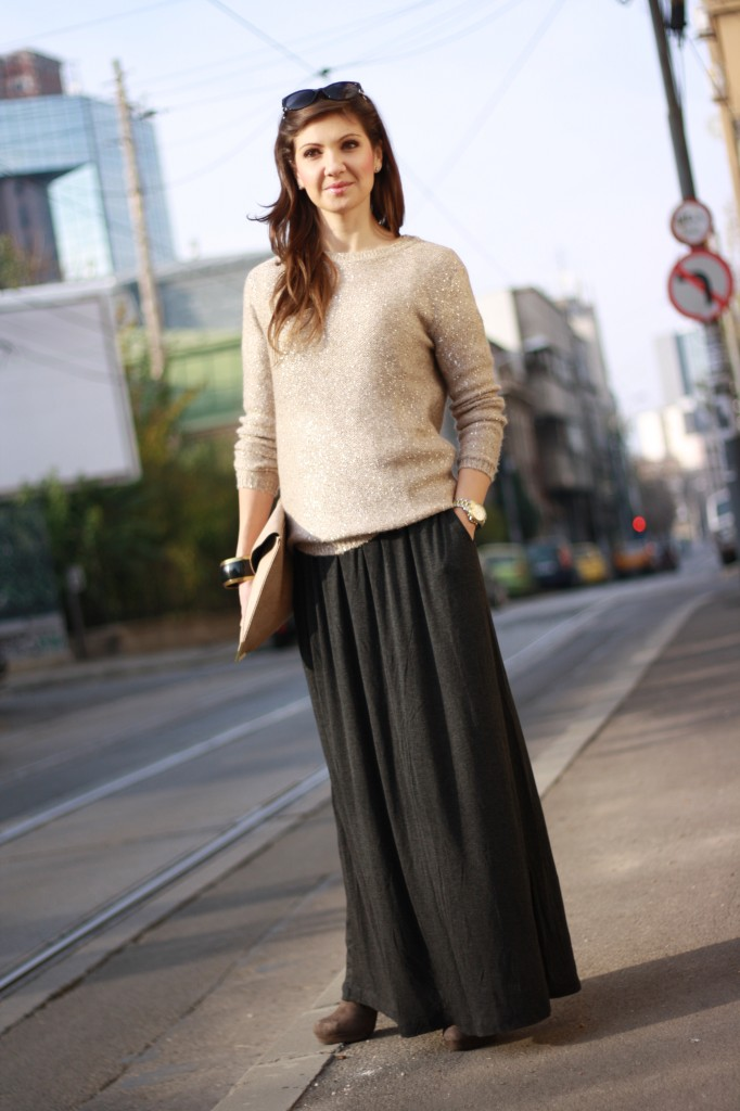 fusta lunga pulover cu paiete