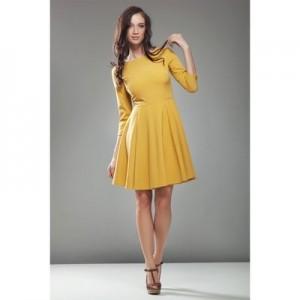 rochie-office-dama-mustard-cloche-10767-2