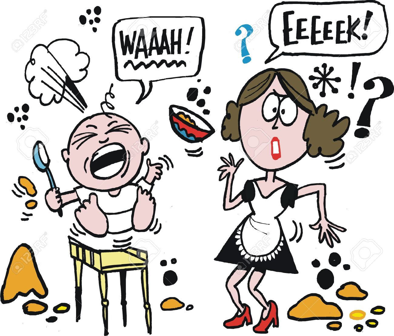 20413519-Vector-cartoon-of-annoyed-mother-with-crying-baby-Stock-Vector-throwing-food-baby